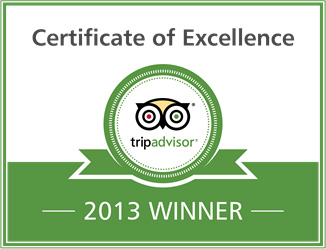 Certificate of Excellence 2013 Winner - Tripadvisor